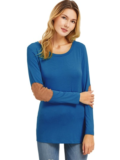 Blue Long Sleeve Elbow Patch T-Shirt