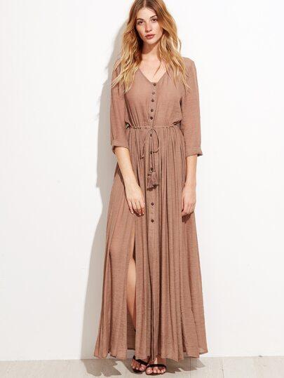 Camel Split Side Self Tie Maxi Dress With Fringe