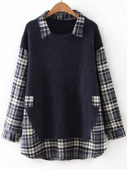 Navy Plaid Drop Shoulder 2 In 1 Sweater