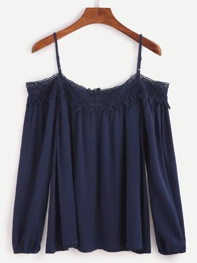 Navy Cold Shoulder Crochet Trim Top