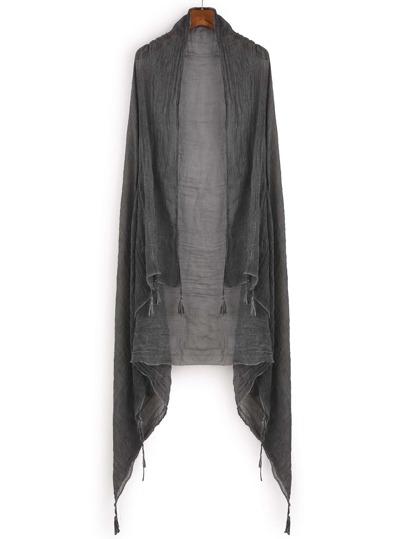 Dark Grey Tassel Trim Simple Scarf