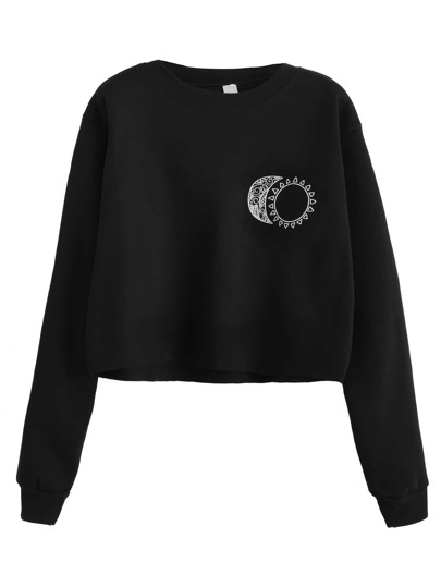 Black Sun and Moon Print Crop Sweatshirt