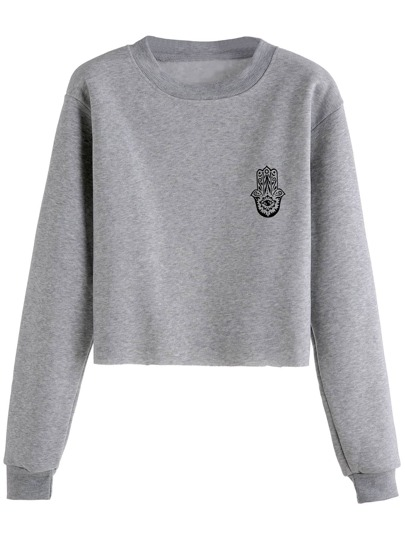 Grey Print Crop Sweatshirt
