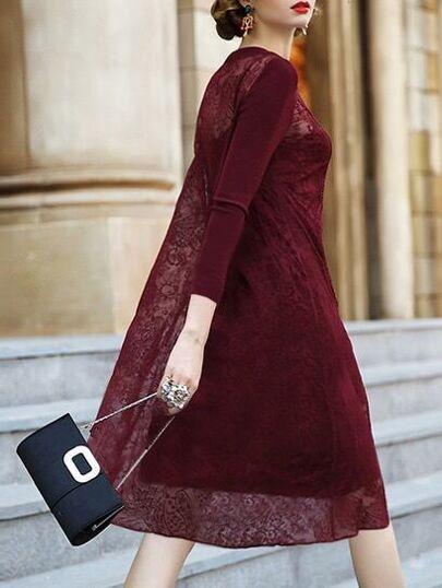 Vestido de gasa con bordado - borgoña