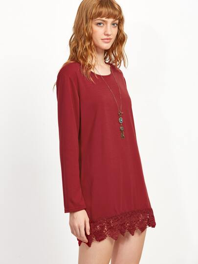 Long Sleeve Lace Crochet Hem Dress