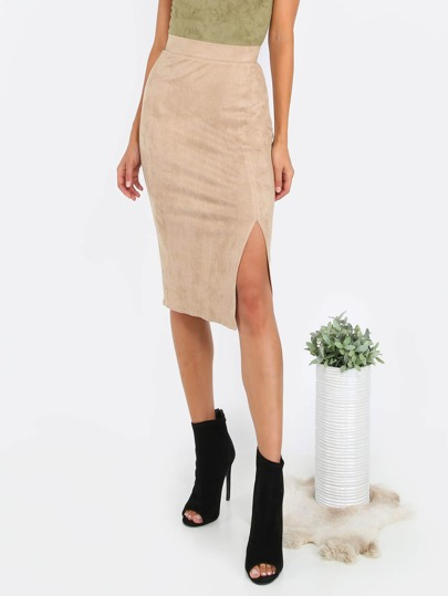 Brown Slit Front Pencil Skirt
