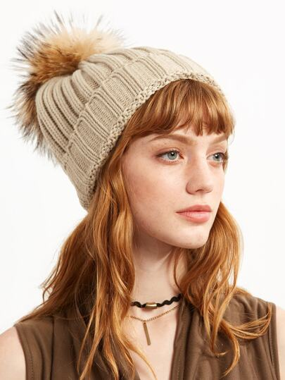 Beige Ribbed Detachable Pom Pom Hat
