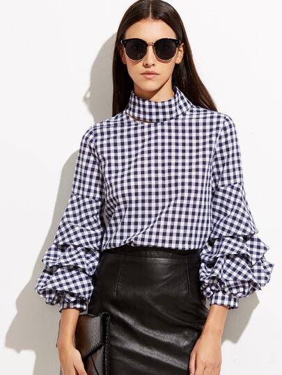 Navy Gingham Cutout High Neck Billow Sleeve Blouse