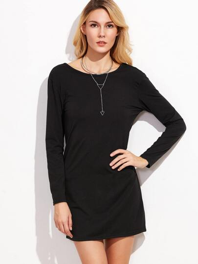 Black Open Back Tee Dress