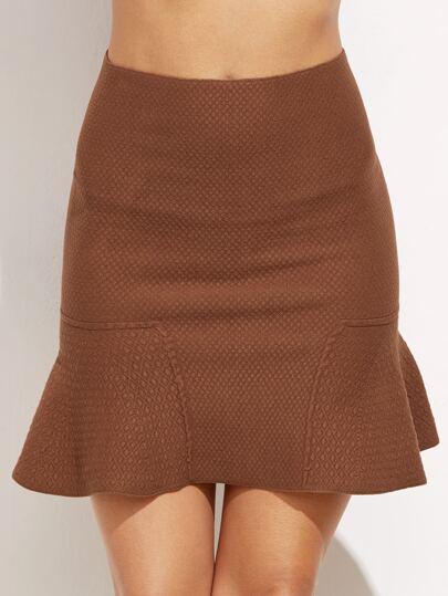 Falda de corte serena de textura - kaki