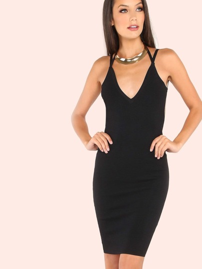 Low Scoop Back Ribbed Bodycon Dress BLACK