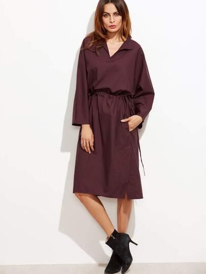 Drawstring Waist Slit Hem Shirt Dress