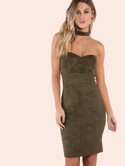 Choker Neck Suede Sweatheart Mini Dress OLIVE