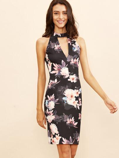 Black Floral Print Keyhole Halter Dress