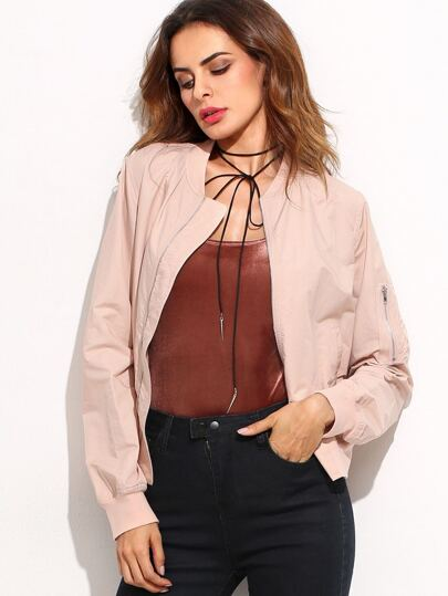 Pink Band Collar Zipper Front Jacket