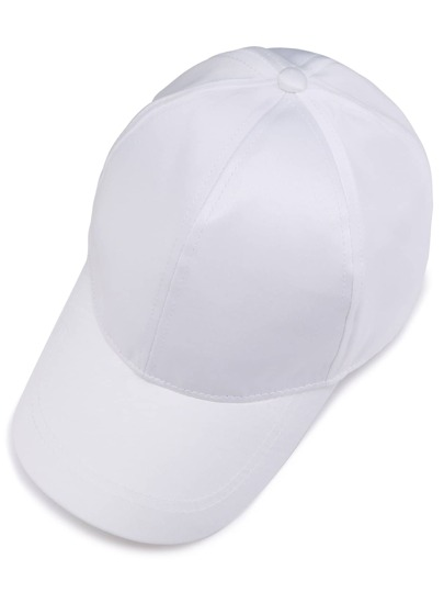 White Satin Baseball Cap