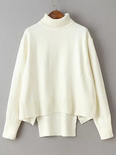 Beige Turtleneck Dolman Sleeve Asymmetrical Sweater
