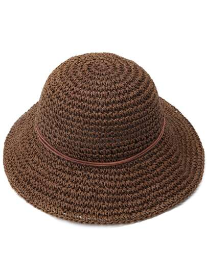 Coffee Bow Trim Straw Hat