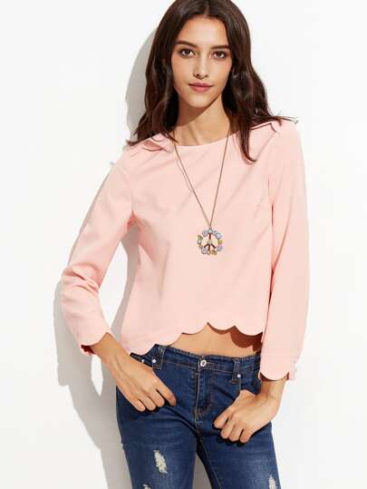 Pink High Low Scallop Top