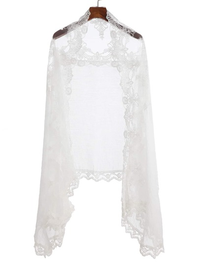 White Floral Lace Voile Scarf