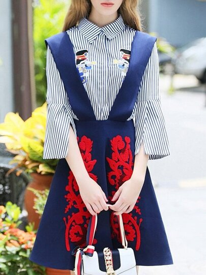 Blue Lapel Striped Embroidered Two-pieces Dress