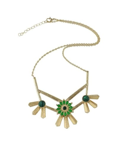 Green Rhinestone Flower Shape Necklace