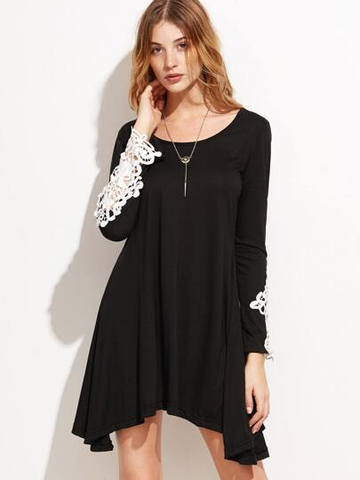 Black Crochet Hollow Out Tee Dress