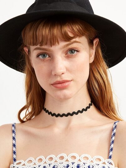Black Wave Band Basic Choker Necklace