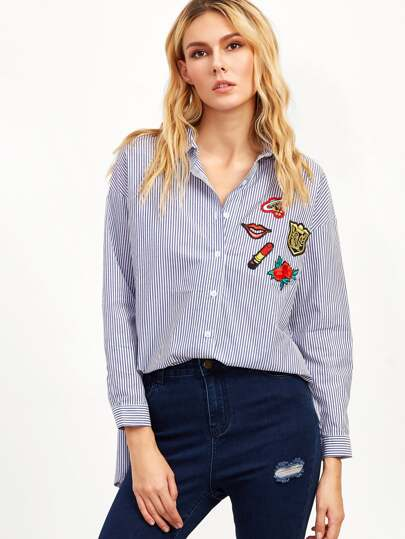 Blue Vertical Striped High Low Embroidered Blouse