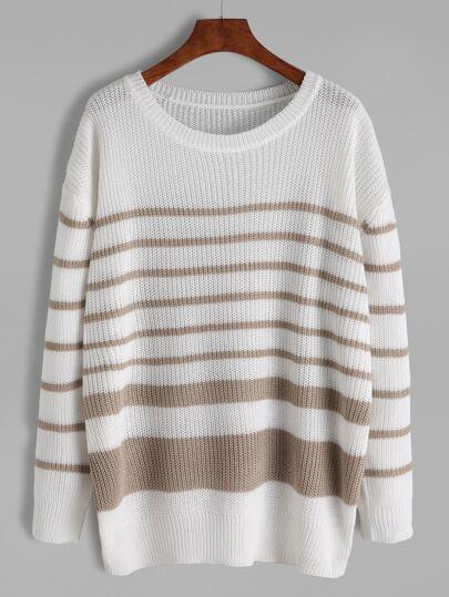 White Asymmetric Stripe Drop Shoulder Sweater