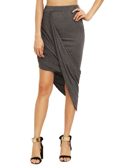 Grey Slim Bodycon Asymmetrical Skirt