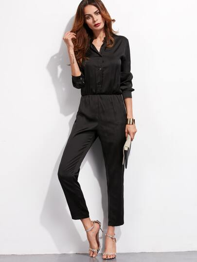 Black Elastic Waist Button Front Jumpsuit