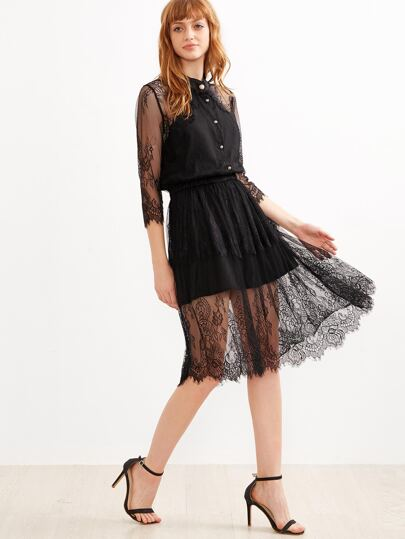 Black Buttons Front See Through Lace Dress