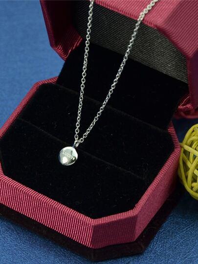 Collier simple avec pendentif rond - argenté