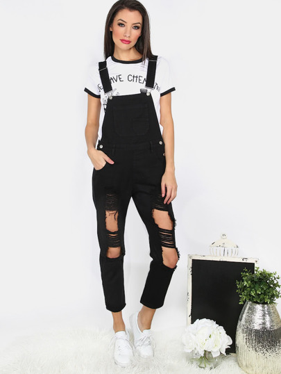 Black Cut Out and Ripped Pocket Suspender Pants