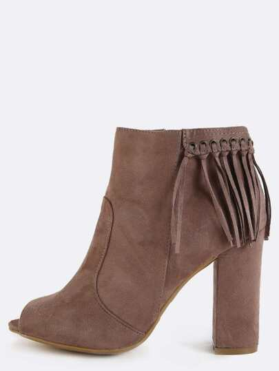 Fringe Back Peep Toe Ankle Boots TAUPE