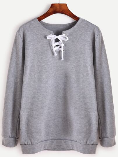 Grey Lace Up Front Long Sleeve Sweatshirt