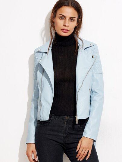 Blue Oblique Zipper Quilted Shoulder PU Jacket With Belt