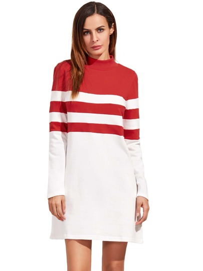 Red Round Neck Long Sleeve Tee Dress