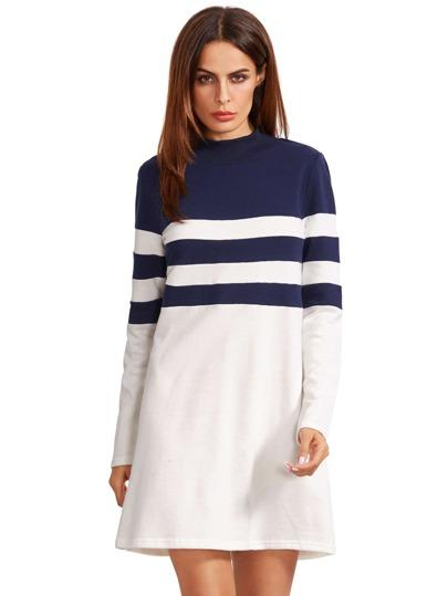 Navy Round Neck Long Sleeve Tee Dress