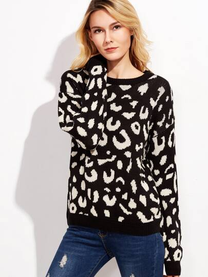 Black Drop Shoulder Leopard Sweater
