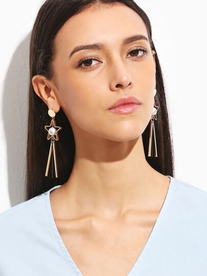 Gold Hollow Star Matte Ball Bar Drop Earrings