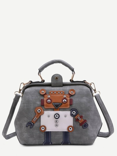 Grey PU Robot Patch Studded Shoulder Bag With Handle