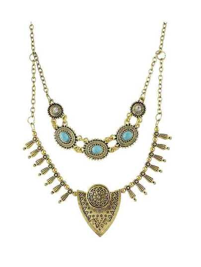 At-Gold Tibetan Style Double Layers Imitation Turquoise Statement Collar Necklace