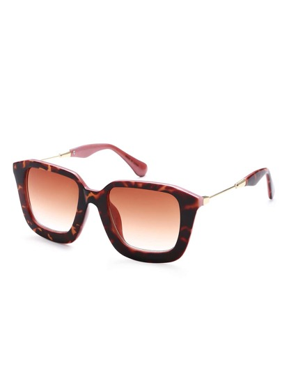 Leopard Print Frame Metal Arm Sunglasses