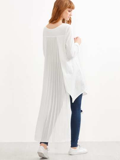 White Pleated Back High Low Top
