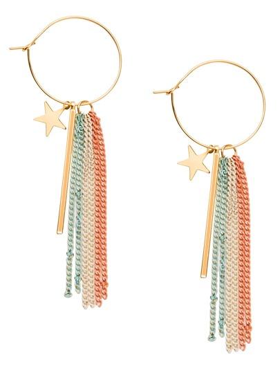 Multicolor Tassel Star Geometric Hoop Earrings