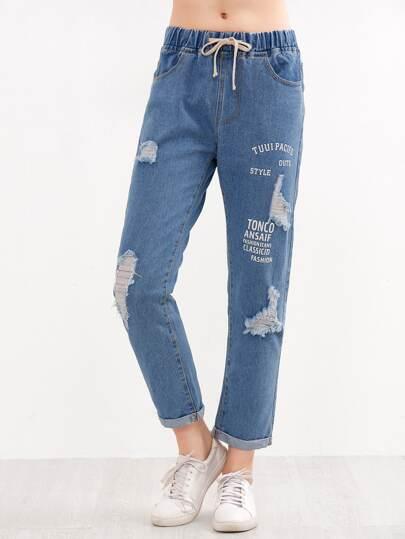 Blue Slogan Print Ripped Cuff Jeans
