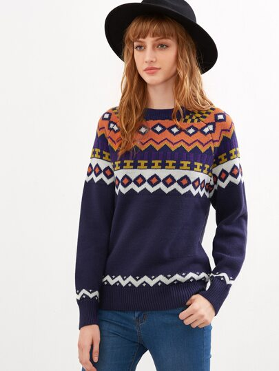 Royal Blue Geometric Pattern Ribbed Trim Sweater