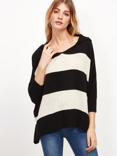 Black And White Wide Striped Oversized Hooded Sweater